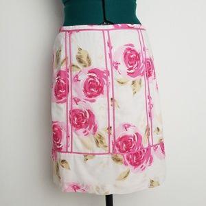 LOFT pink floral pencil skirt size 6